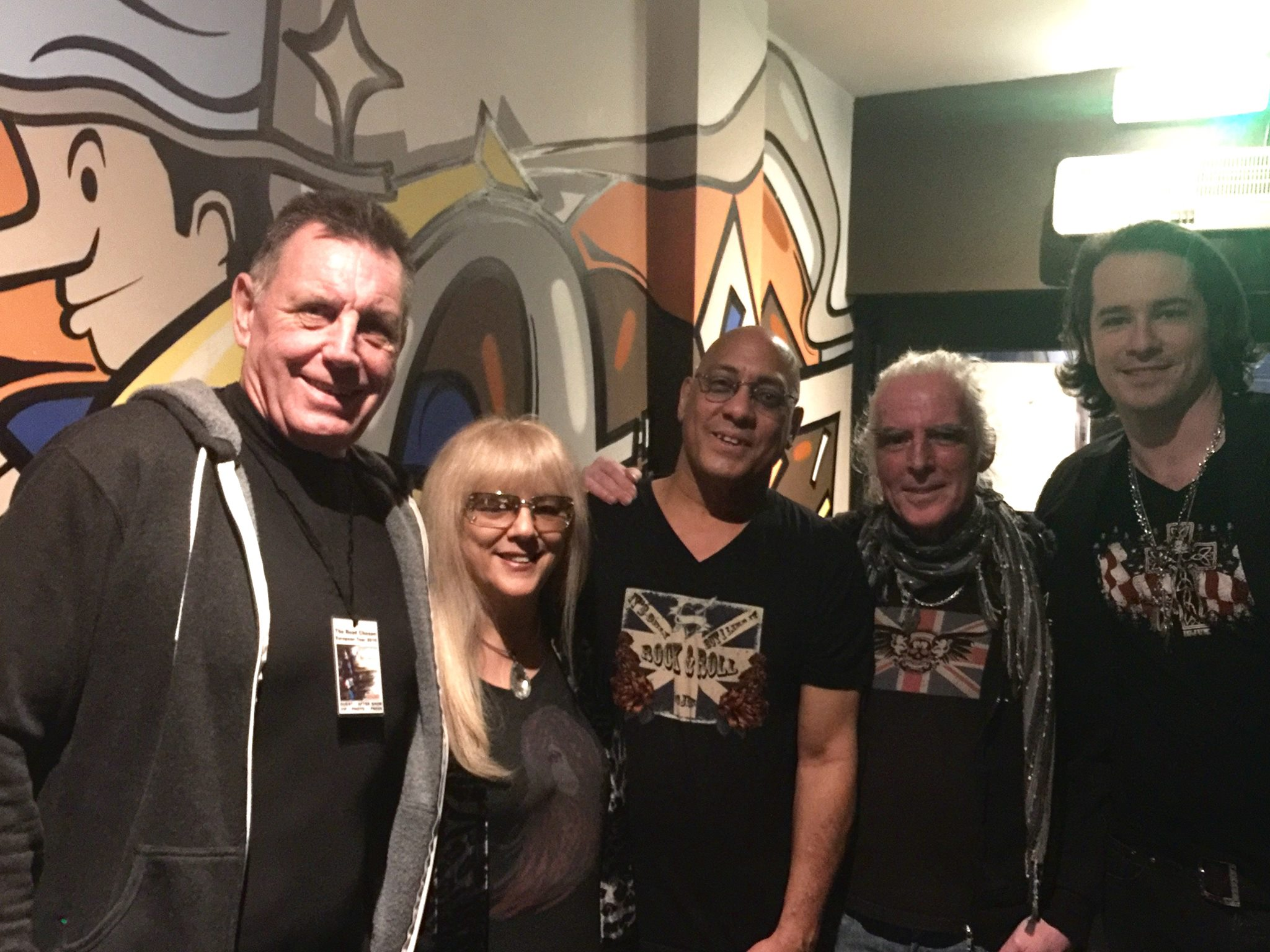How many ICJUK designs can you see here?! Super lovely to receive this photo this evening from Ryan McGarvy - from left to right My Dad, My Mum, My Bridesmaid aka Carmine Rojas, Manni (Tour Manager) and Ryan after their show tonight in the UK!