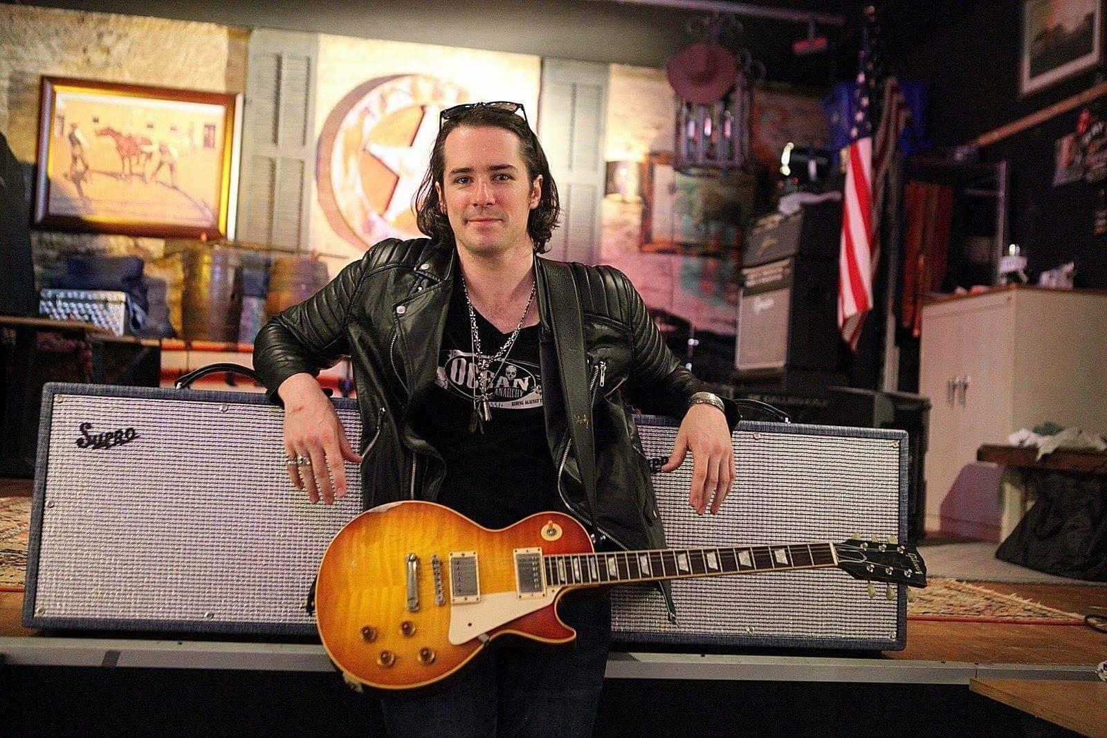 Multi-Award Winning guitarist Ryan McGarvey for D'Angelico Guitars rocking his ICJUK tee Design.