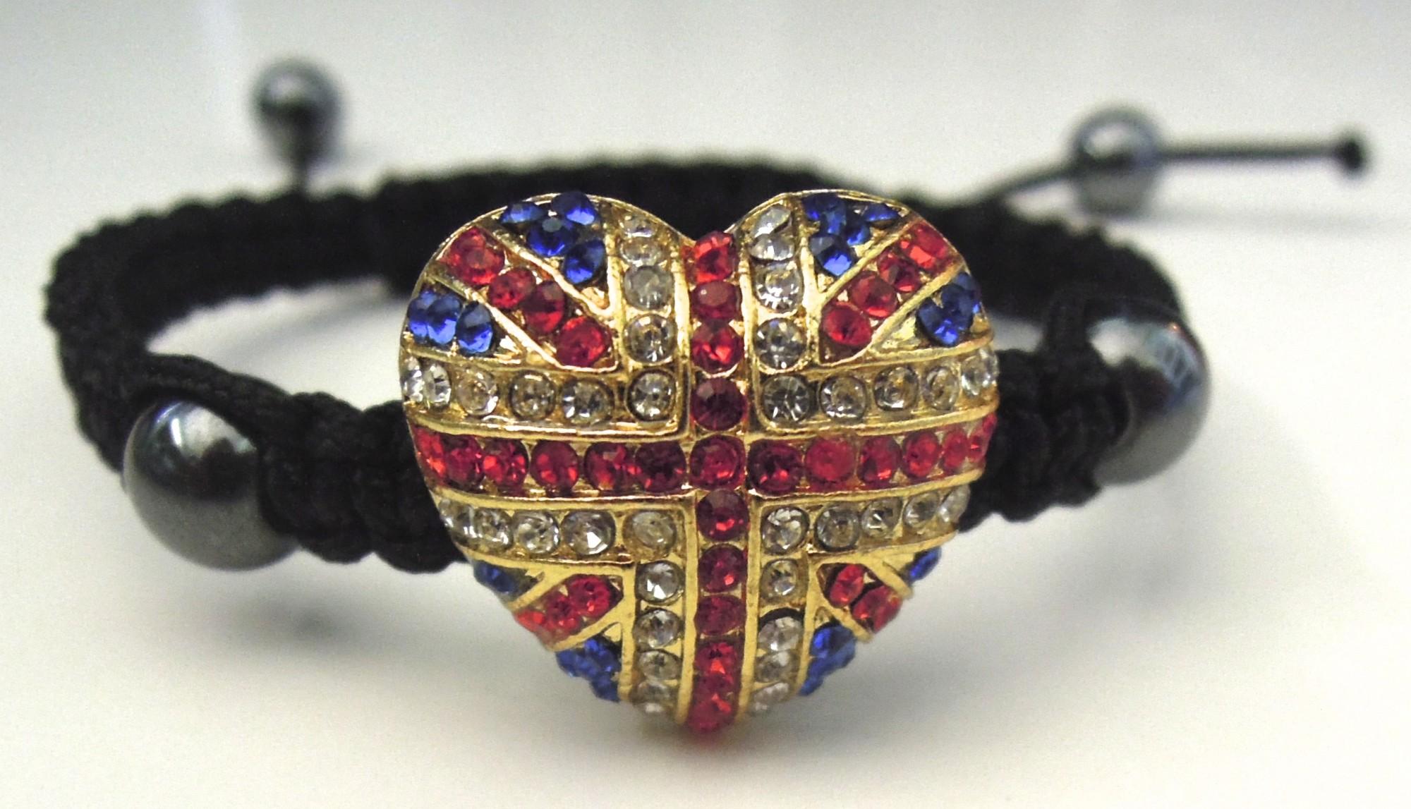 Union Jack Heart Rhinestone Bracelet