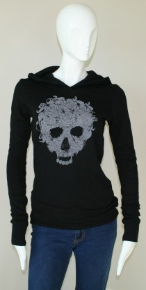 ICJUK Skull & Roses Black Thermal fitted Hoody