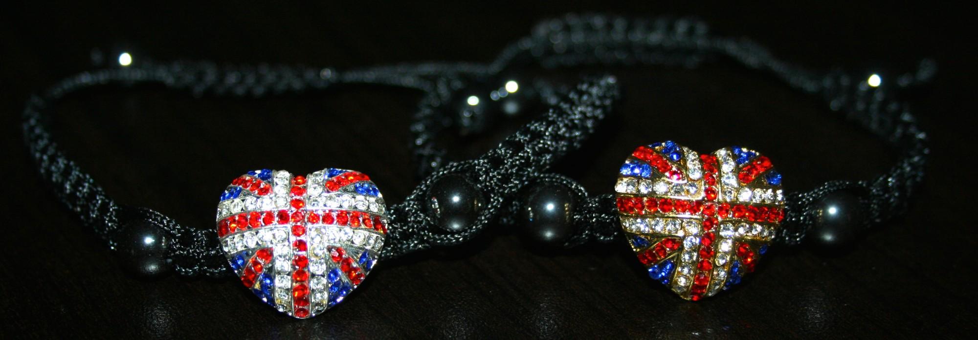 silver plated heart rhinestone bracelet