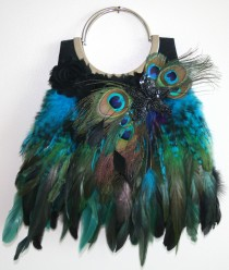 Peacock Feather Evening Handbag