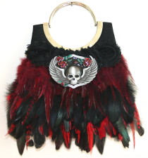 Rocking Skull & Roses evening handbag
