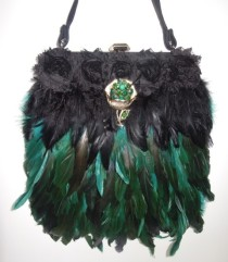 Black suede Vintage embellished handbag with gold & green emerald toned rhinestone flower.