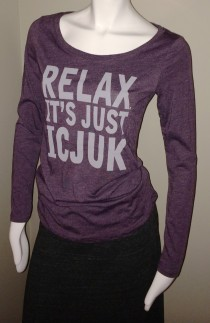 Ladies 'Relax' Purple Vintage Long Sleeve Tee