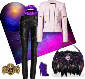 Feathers & Leathers purple vibes