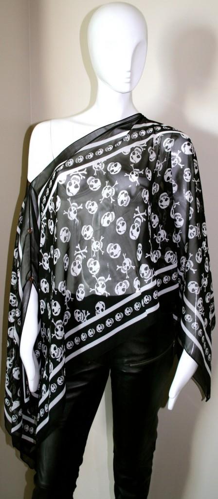 Black & White Summer Skull Scarf Top