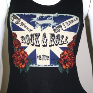 its only rock and roll tank top in black