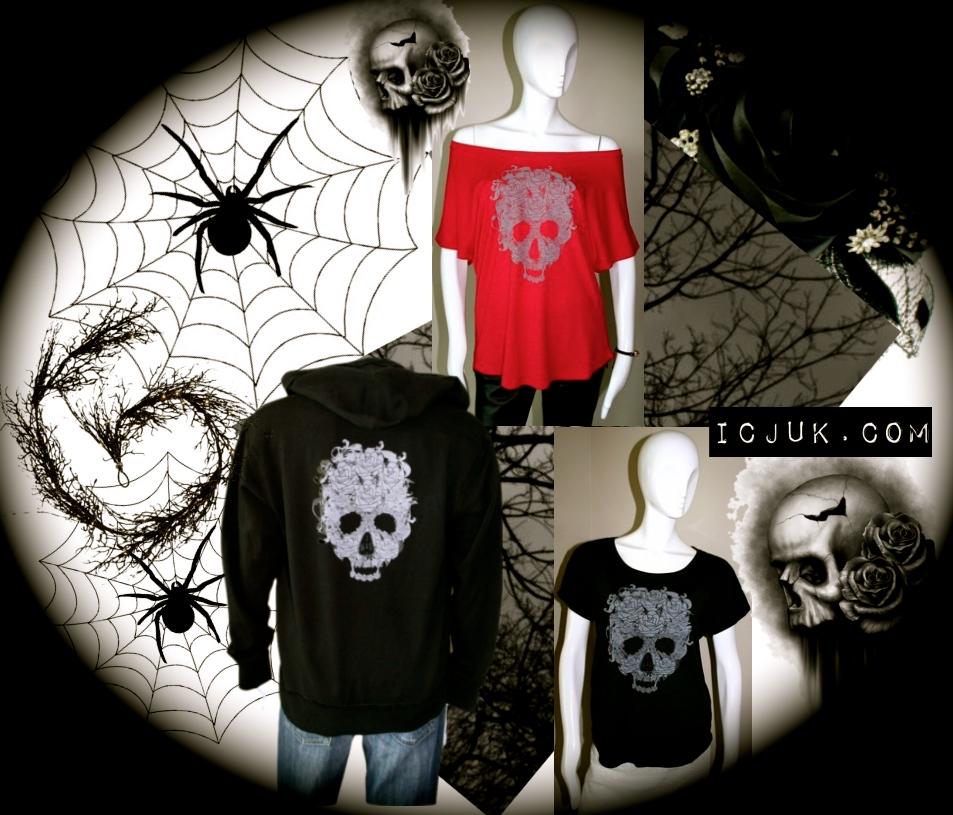 Black Skulls & Rose Dolman