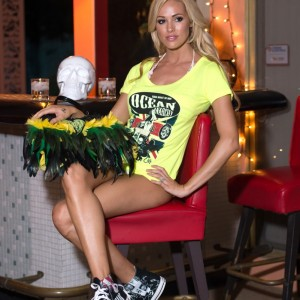 LADIES NEON YELLOW UNION JACK OCEAN ANARCHY SCOOP NECK TEE