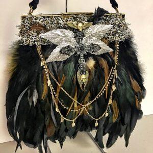 Vintage Feather Handbag with Skull & Cross