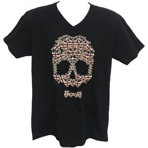 Unisex V Neck Union Jack Heart Skull
