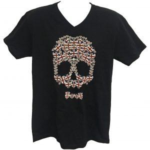 Unisex V Neck Union Jack Heart Skull