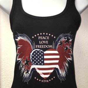 ICJUK USA Heart & Wings Peace Love Freedom Ladies Black Jersey Tank