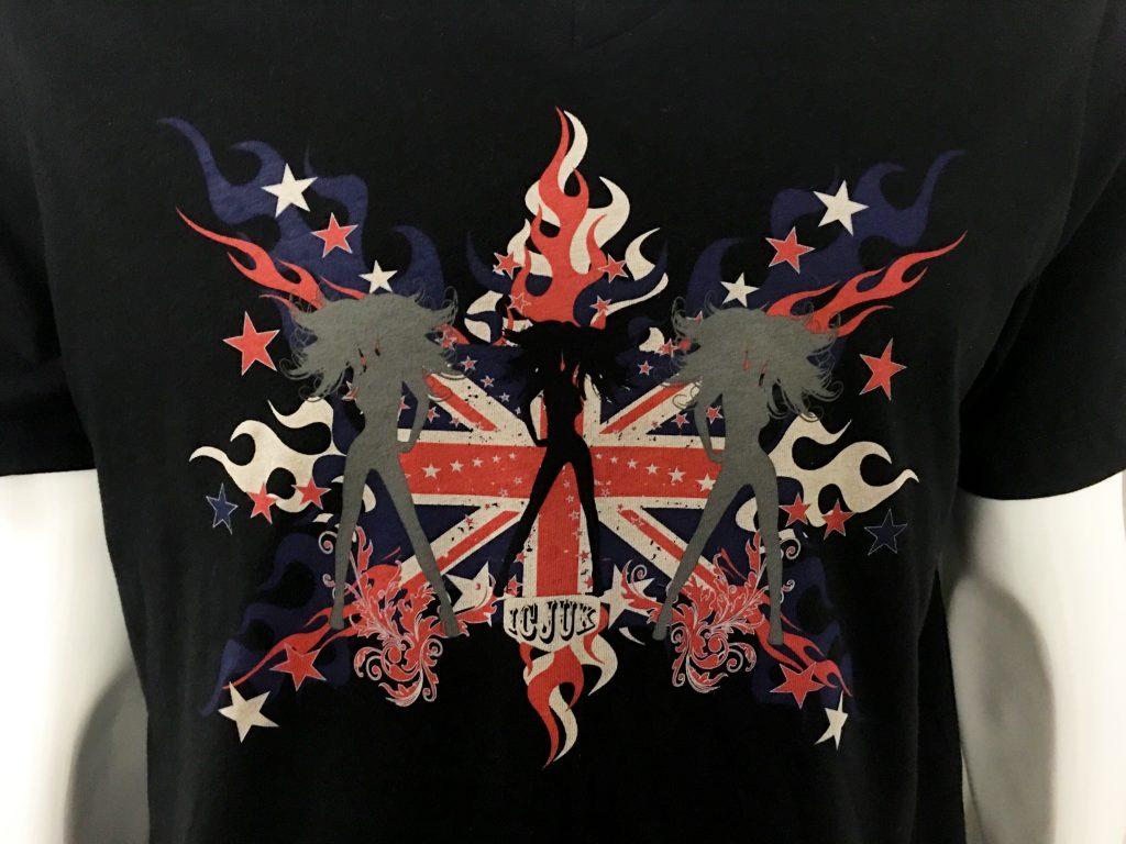 ICJUK Union Jack Flames - Jane Bond Designer Eco-Friendly Black V Neck shirt