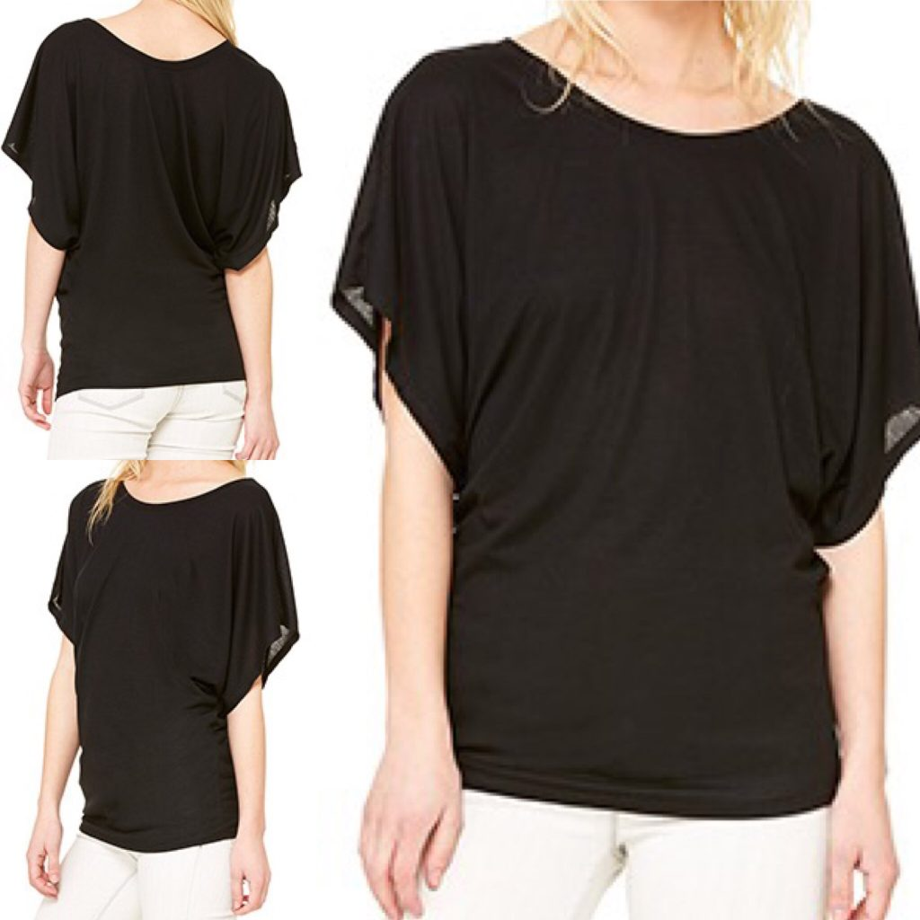 Flowy draped black dolman style