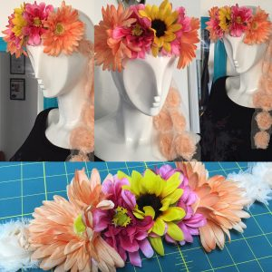 Music Festival EDC inspired floral tie up crown with gorgeous large vibrant sunflowers