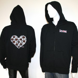 Unisex Heart & Roses Black Raw Edge Zipper Hoody