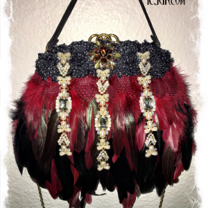 Gorgeous Red feathered Vintage embellished handbag with Stunning dripping jewels