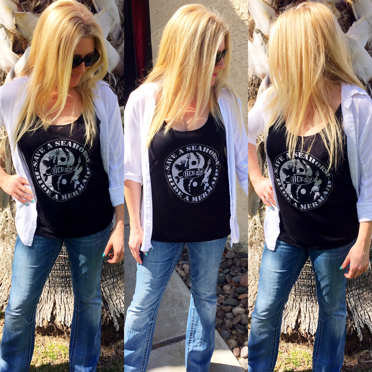 Save a Seahorse Ride a Mermaid Ocean Anarchy By ICJUK Black Slouchy Tank