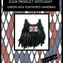 Handmade Highlight: Black Union Jack Feathered Handbag