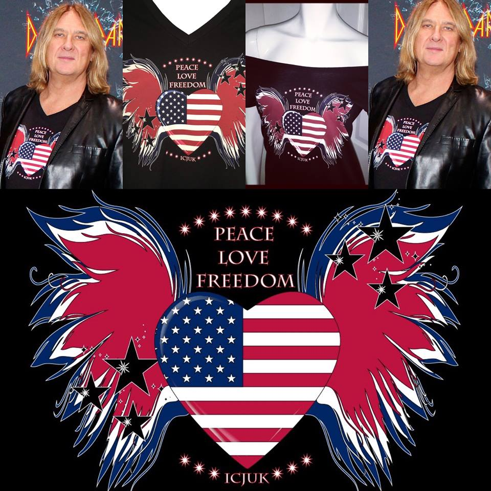 Joe Elliott in the Peace Love Freedom Design