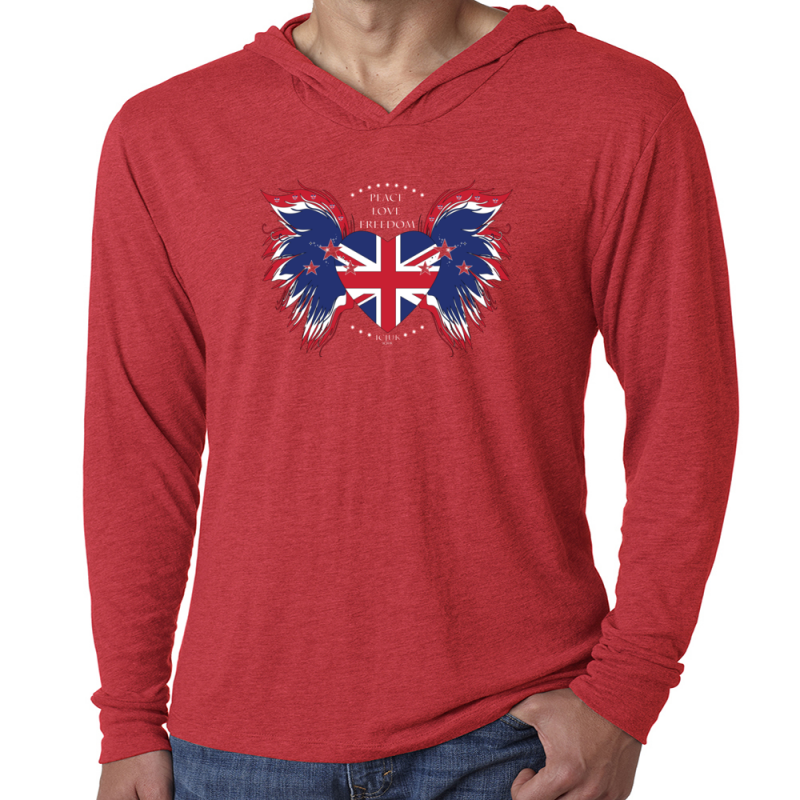 2fad015627d6d6 Union Jack Heart with wings Peace Love Freedom Unisex Soft Pullover Hoody.  ZOOM +. START SLIDESHOWSTOP SLIDESHOW
