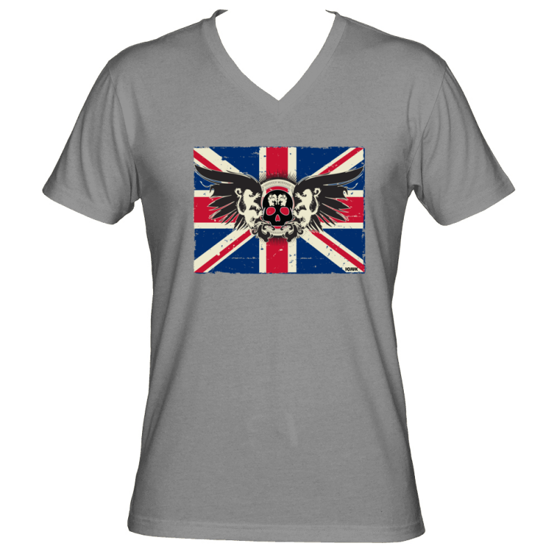 6af89c9fb0394b The Classic Original ICJUK Union Jack with Skull and wings Unisex V Neck