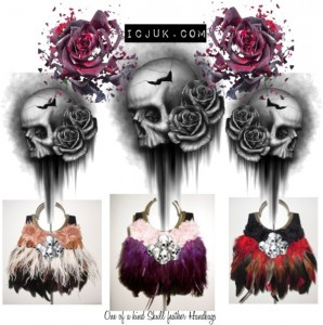 Skull feather handbags - One of a Kind by ICJUK