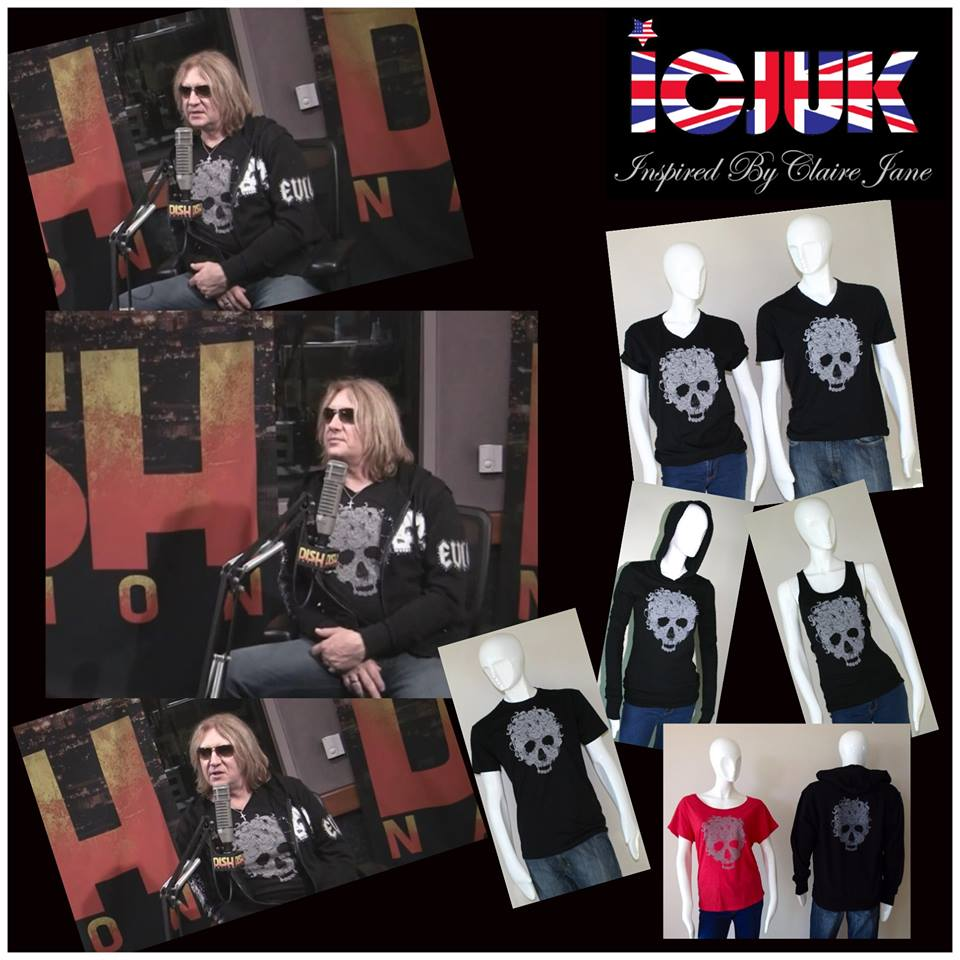 Joe Elliott rocking ICJUK Skull & Roses tee