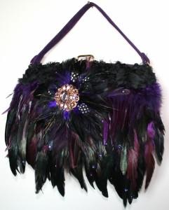 Purple suede Vintage embellished handbag with Black & Purple toned Swarovski crystal adorned feathers