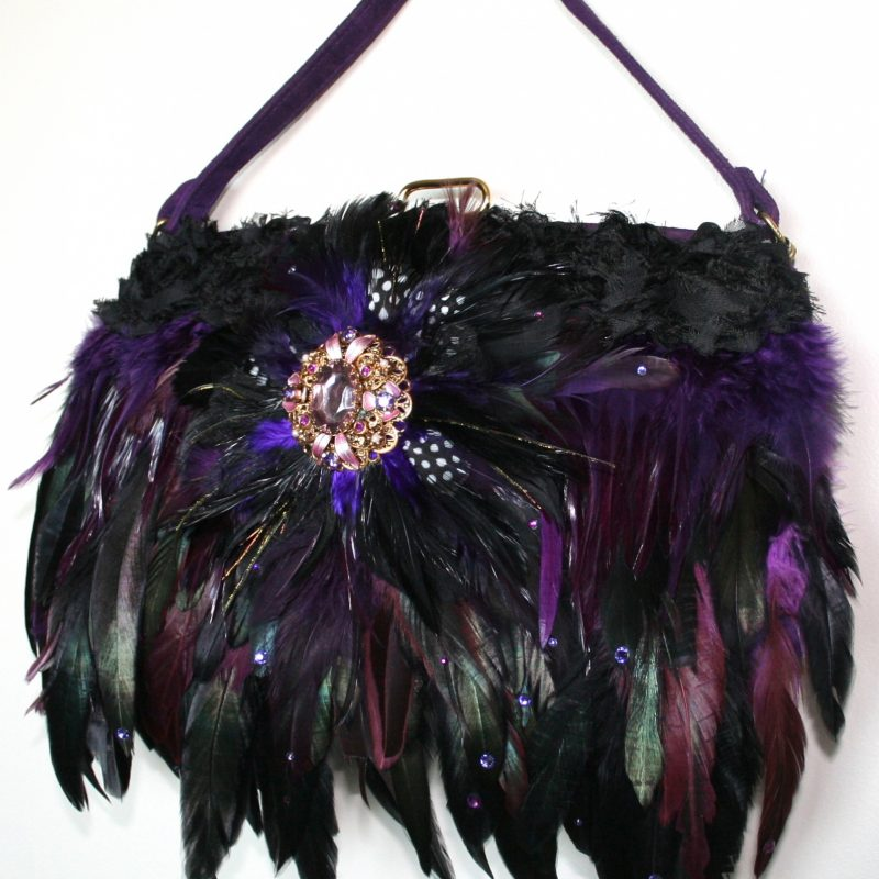Purple suede Vintage embellished handbag with Black & Purple toned Swarovski crystal adorned feathers