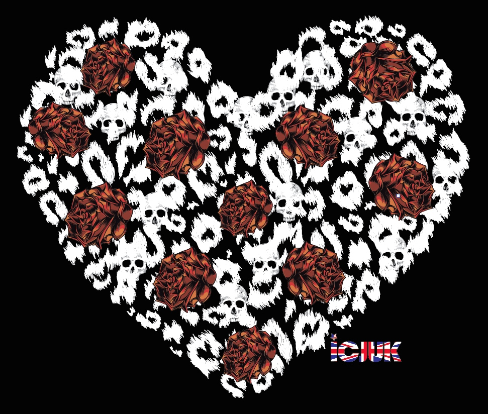 ICJUK Ladies Rock & Roll Heart & Roses Black Tank