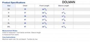 Dolman sizing chart