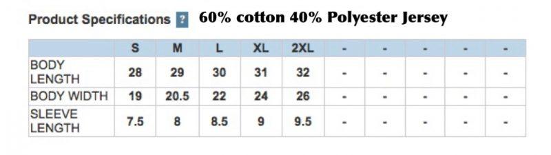 V Neck Size Chart - 60% Cotton 40% Polyester Jersey