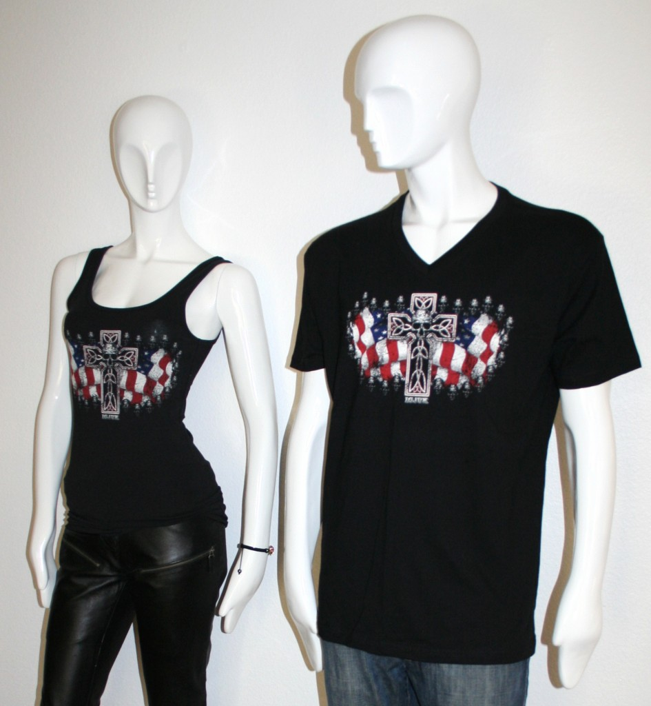 USA Flag Cross & Skulls Design