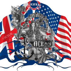 USA UK Flag Mermaid Throne Rule Britannia
