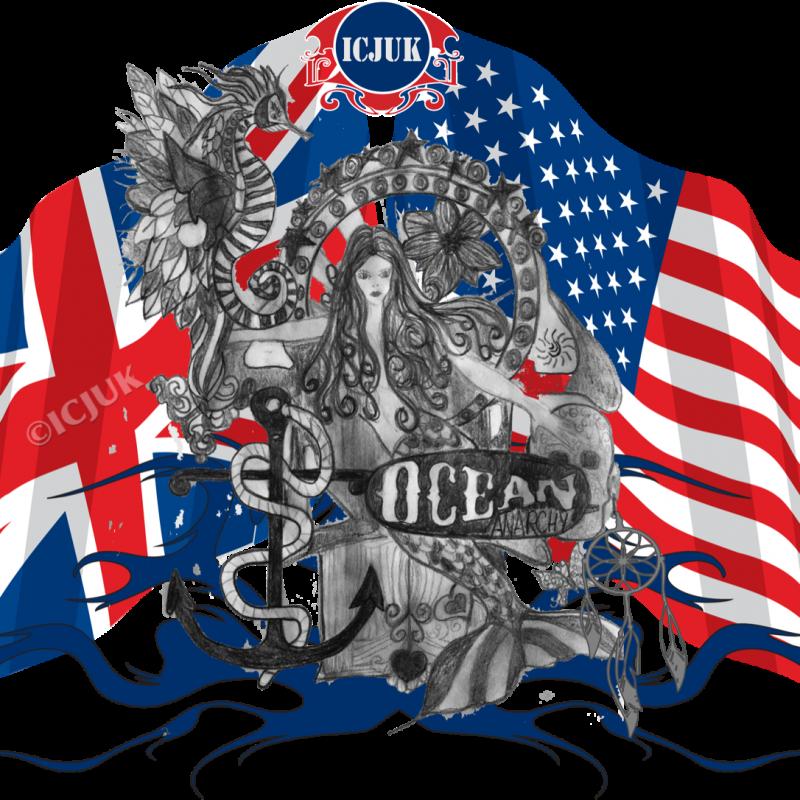 USA UK Flag Mermaid Throne Rule Britannia