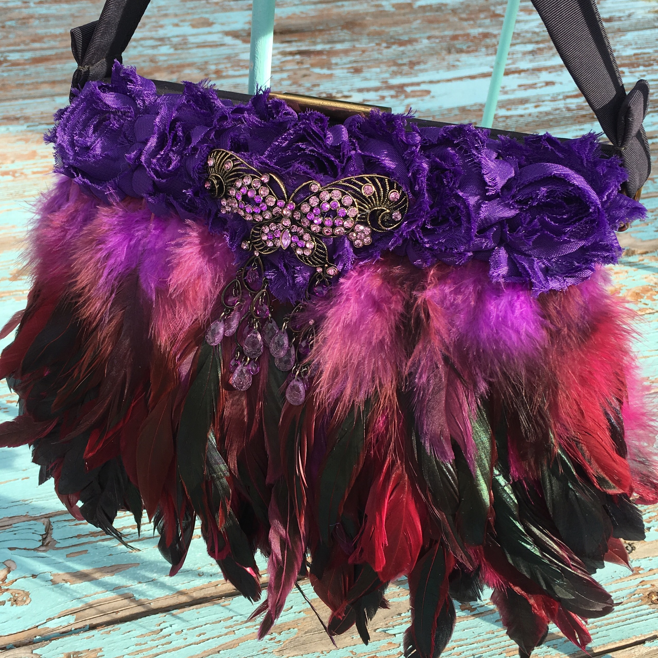 Purple Butterfly Vintage Feather Handbag - One of a kind