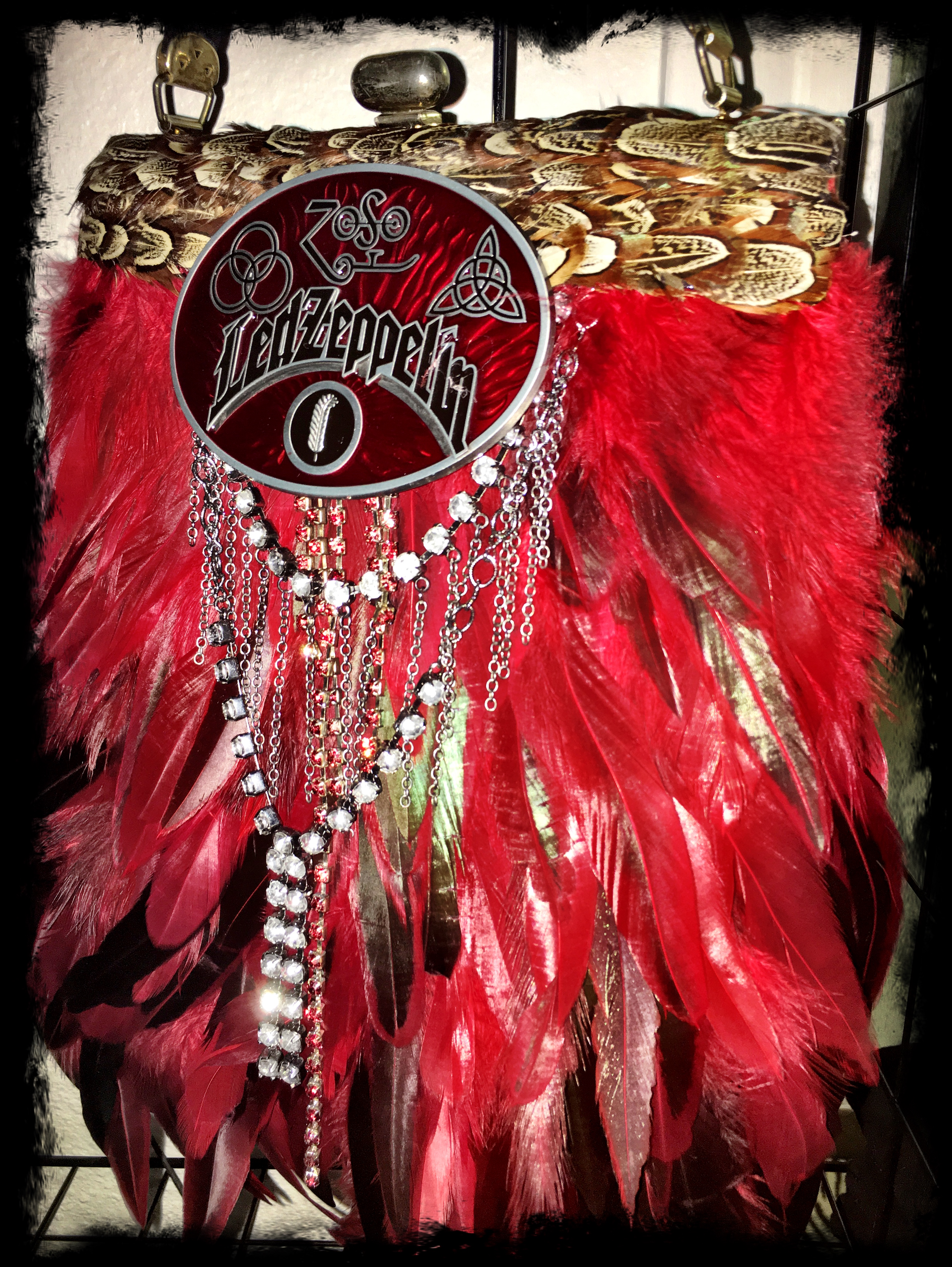 Rock and Roll Led Zeppelin inspired Black vintage Red mixed feather handbag