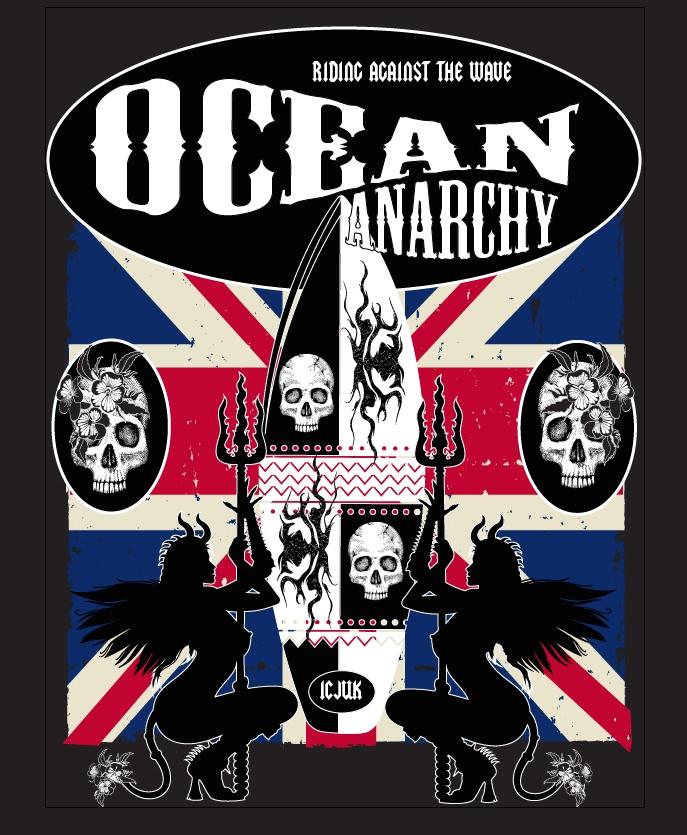 ICJUK's Ocean Anarchy design with British Flag background