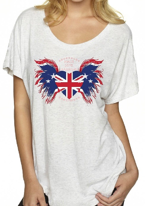 e1ec8f274a50f3 Union Jack Heart with wings Peace Love Freedom Ladies Dolman