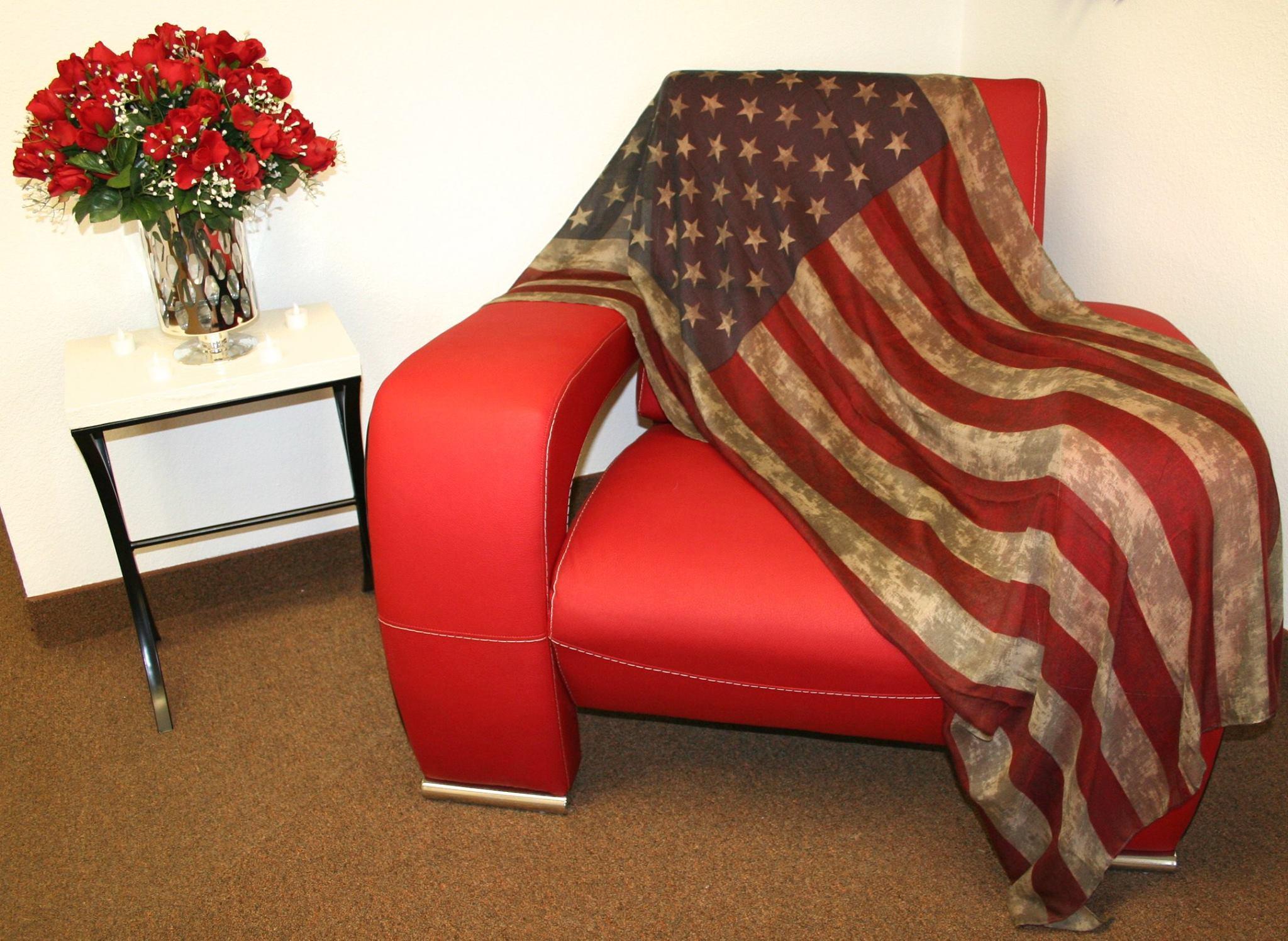 Large Vintage Looking USA Flag Super Soft Scarf