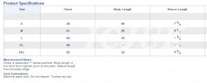 Unisex V Neck Sizing Chart