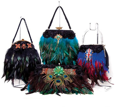 couture feathered handbag