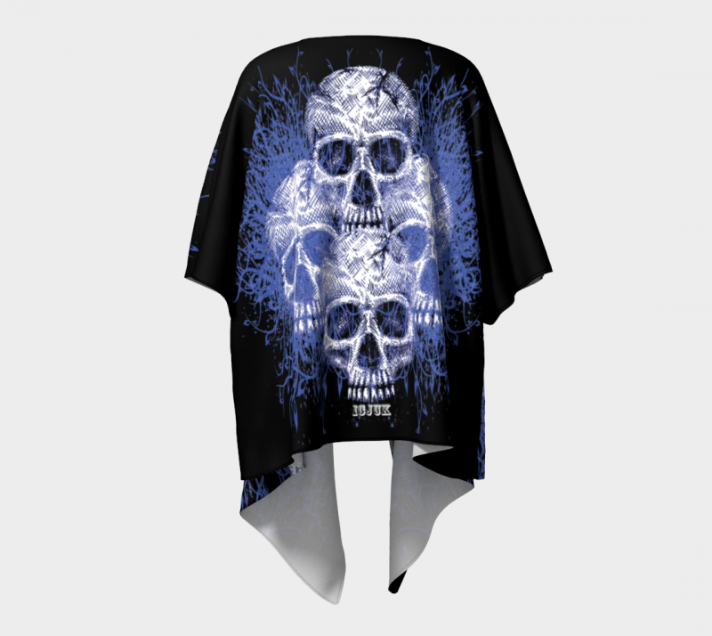 Icjuk Quadskulls Open Style Kimono Lightweight Sheer Cover Up
