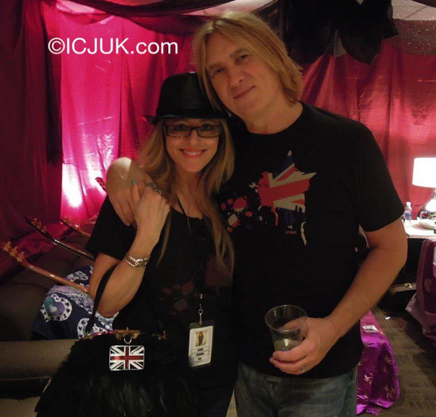 Claire Jane & Joe Elliott wearing the ICJUK Exploding Union Jack Star