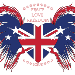 Union Jack Heart with wings Peace Love Freedom