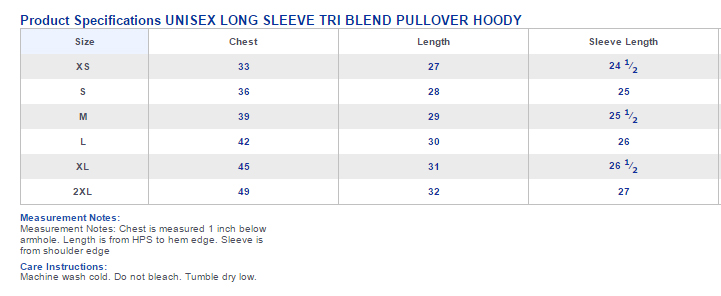 unisex long sleeve tri blend pullover hoody sizing chart